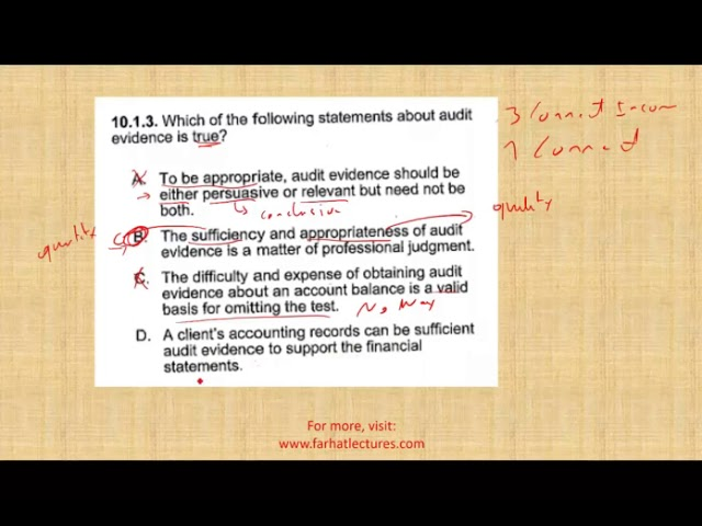 Audit Evidence   CPA AUD Questions   Sufficient and